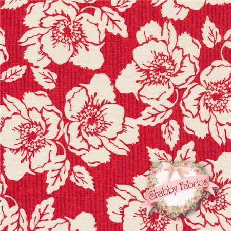 Nantucket Red by Bethany Berndt Shackelford for Quilting Treasures. This fabric features a large cream floral on a red stripe. http://www.shabbyfabrics.com/Nantucket-22930-R-Red-By-Bethany-Berndt-Shackelford-For-Quilting-Treasures-P22657.aspx?categoryid=1261