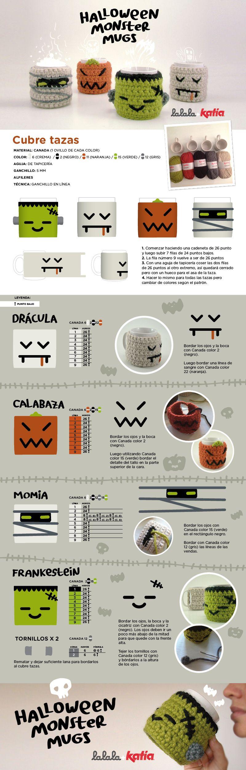 Halloween Monster Cubretazas Patrón Gratis en Castellano | Cosas ...