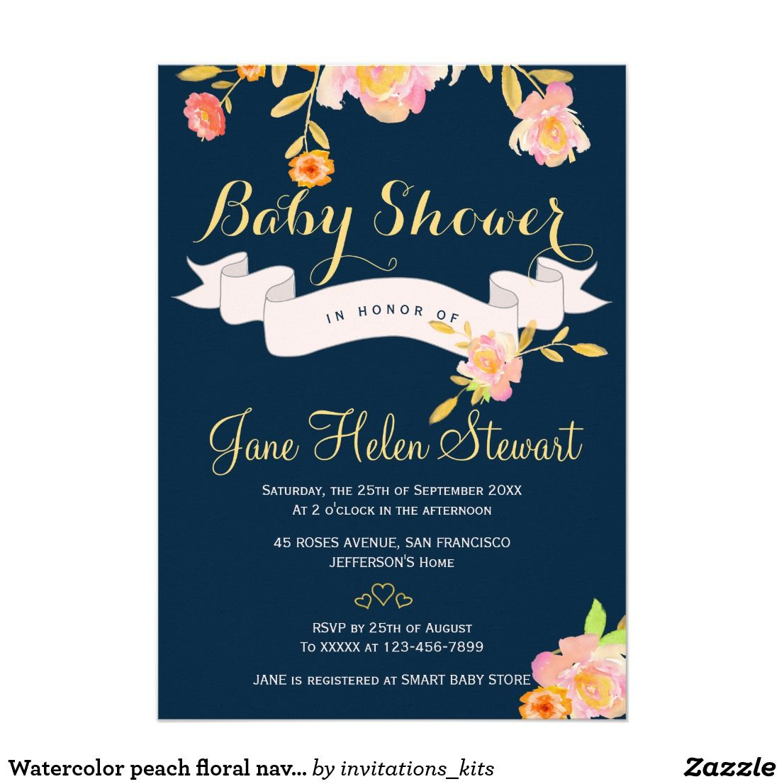 Watercolor peach floral navy blue baby shower invitation | Birth