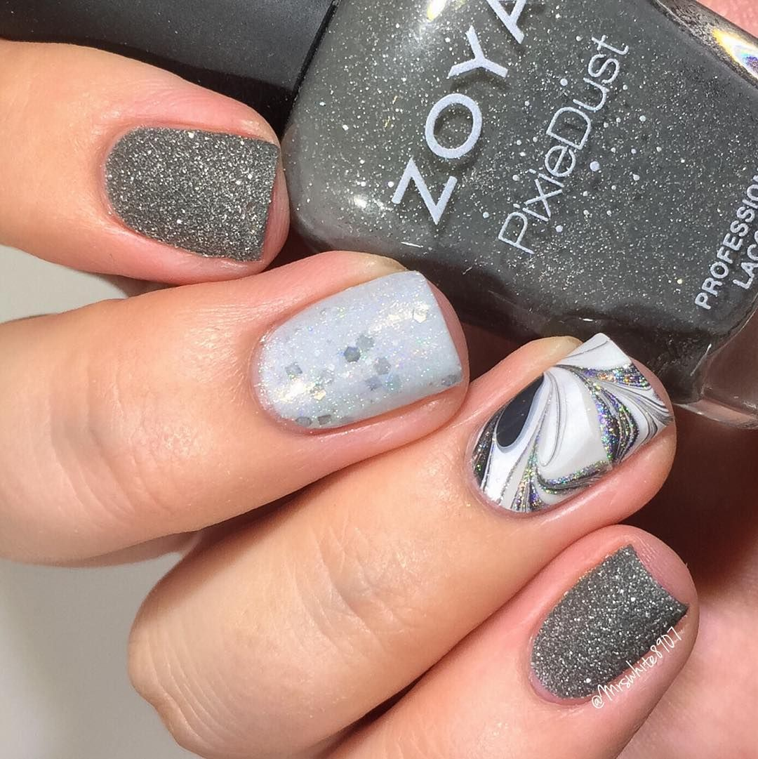 Texture with a watermarble accent nail! I used: @zoyanailpolish ...