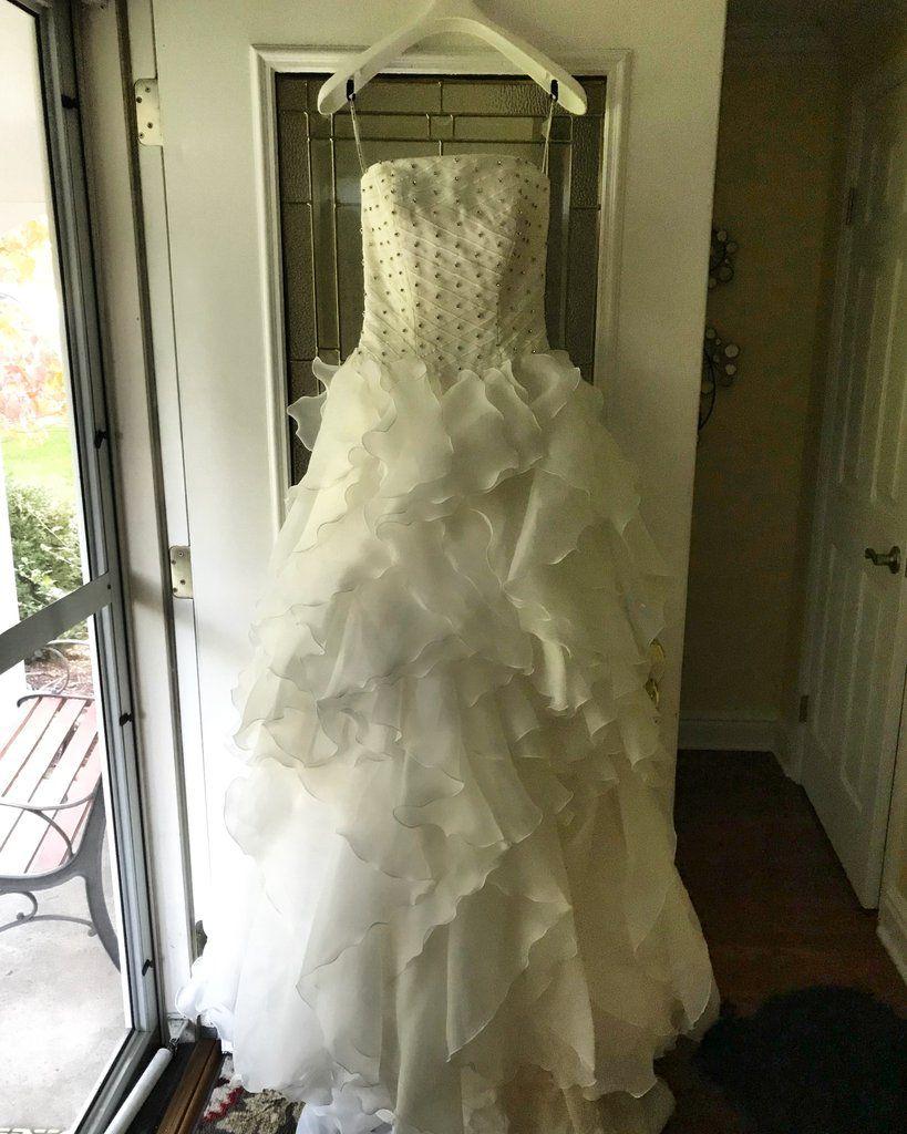 468463fb9b0 Saison Blanche  B3060  size 2 new wedding dress front view on hanger