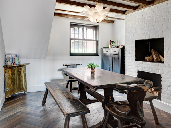 Beautiful Brooklyn House Tour Dining Room With Fireplace | Via Coco+kelley