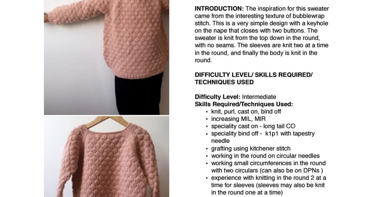 Bubblewrap jumper April 2017.pdf | DIY & crafts | Pinterest