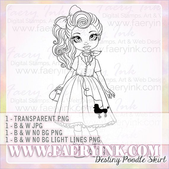 teeny bopper poodle skirt uncolored digital stamp image adult coloring page jpeg png jpg fantasy craft