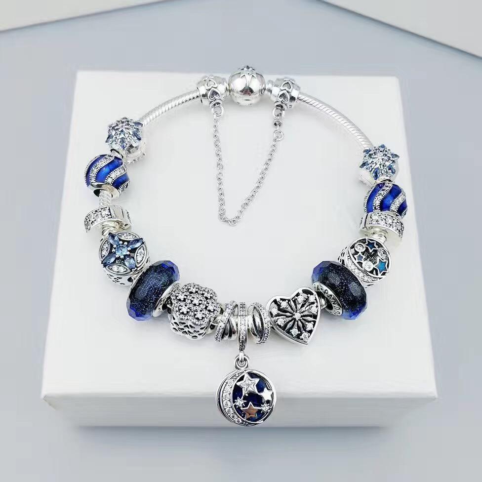 7e0f6dbda pandora bracelet with blue charms | jewelry | Pandora bracelet ...