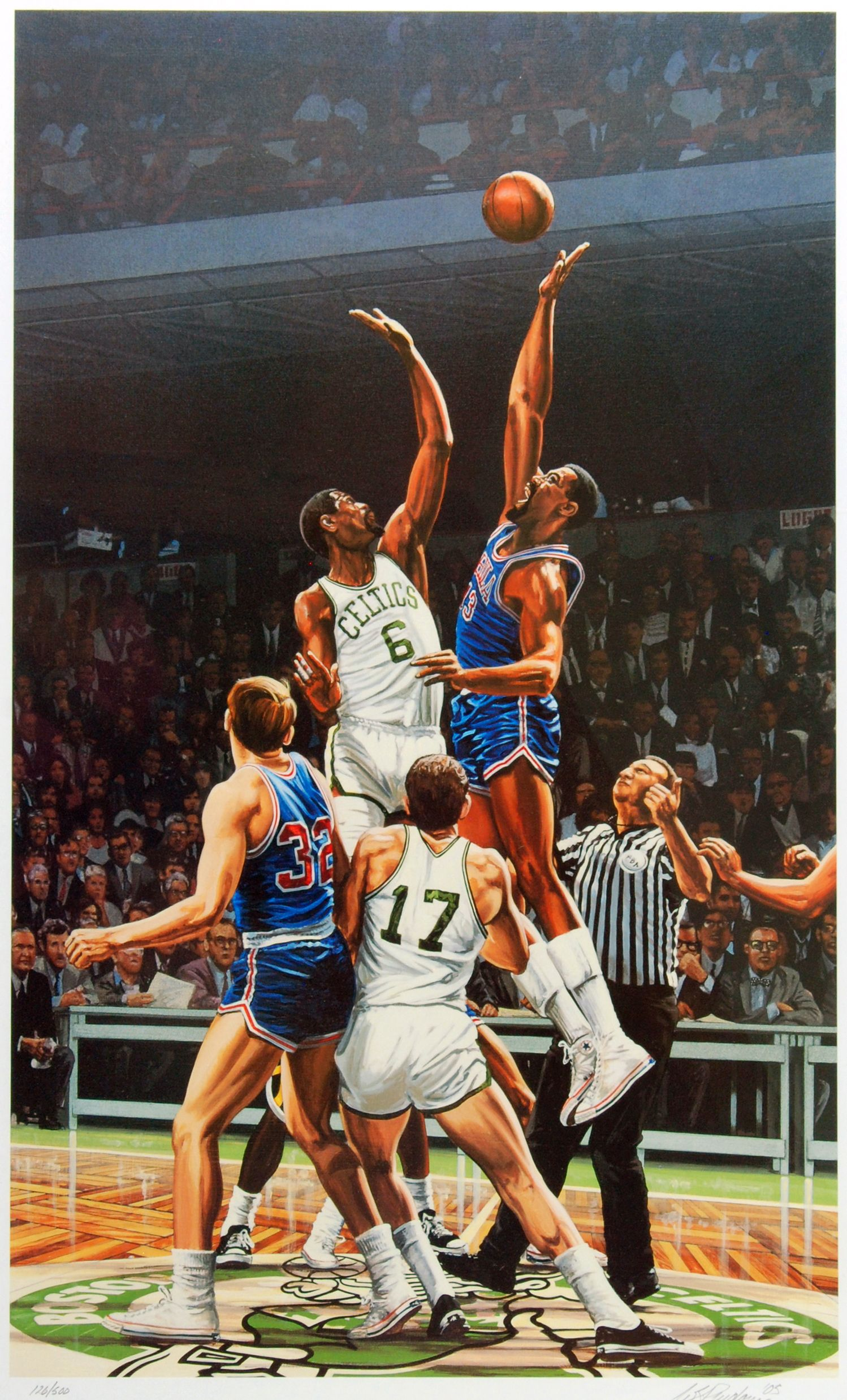 3306026f2 Bill Russell   Wilt Chamberlain. Artwork by Bill Purdom