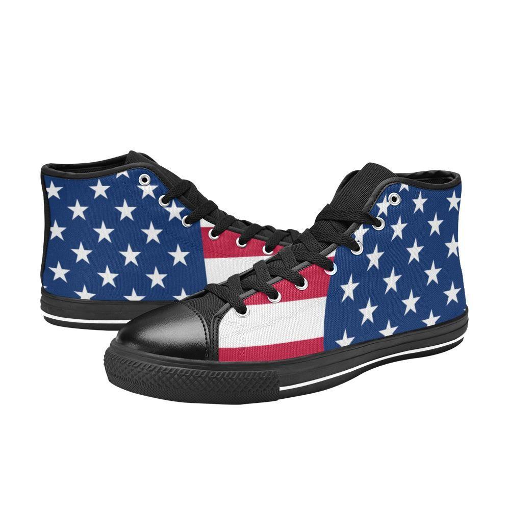 USA Flag Print Art Patriotic Men's Classic High Top Canvas Shoes – US7