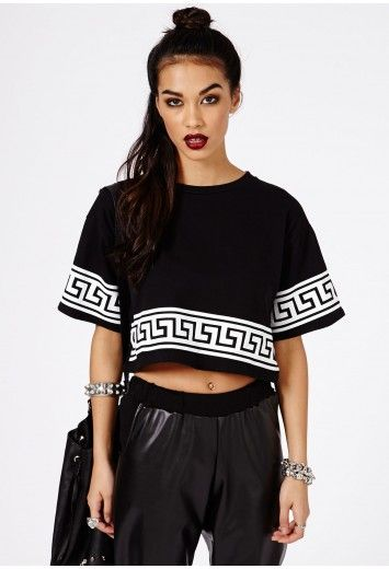 2304840682892e Missguided - Dulce Greek Key Print Oversized Crop Top In Black - $23.38 -  ONLY SIZE 10