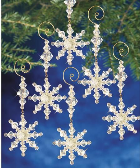Ice Crystal Snowflakes Beaded Christmas Ornament Kit Beaded