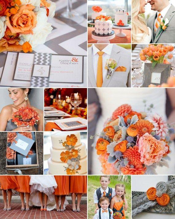 Orange And Grey Weddings Orange Grey Wedding Orange Wedding