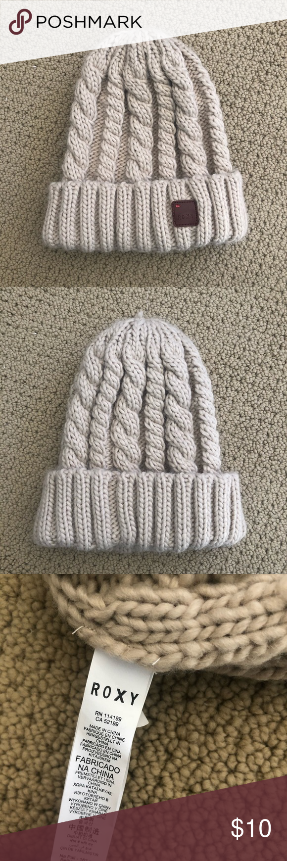 8d22a480b86 NWOT adorable knit Roxy winter hat Super warm and cozy knit hat in a  beautiful oatmeal