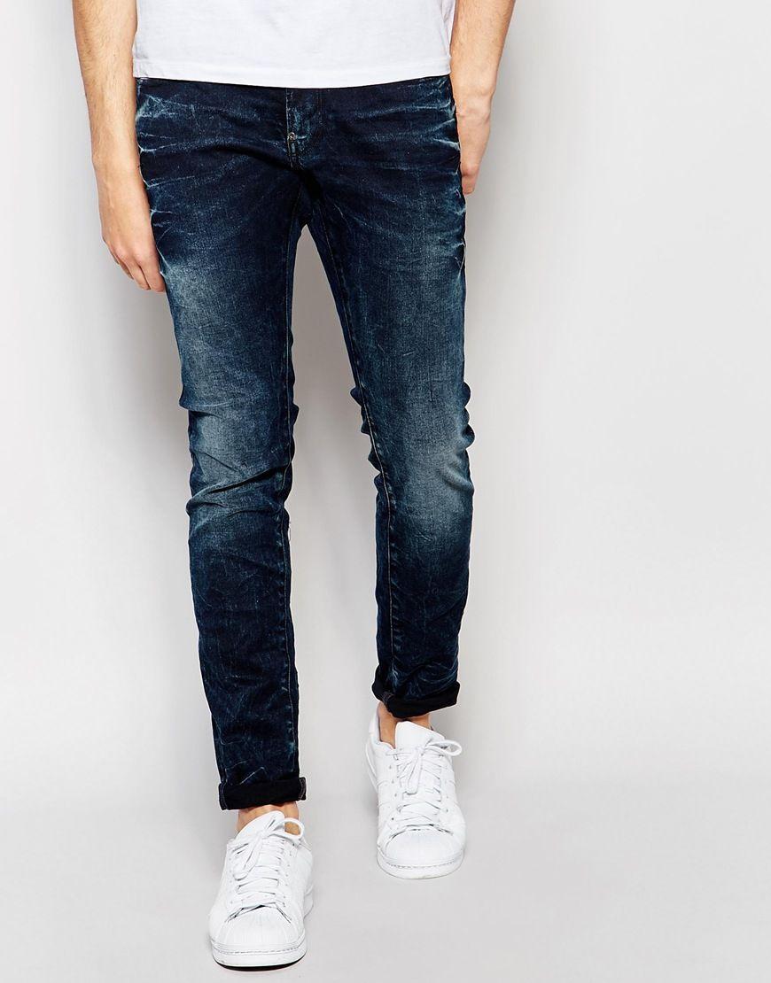 G Star Jeans Revend Super Slim Fit Stretch Dark Aged Vintage Star Jeans Destroyed Denim G Star
