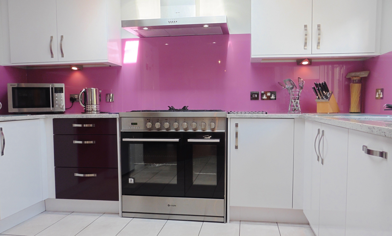 bright pink bespoke toughened glass splash back tenterden kent pink kitchen decor kitchen on kitchen decor pink id=43836