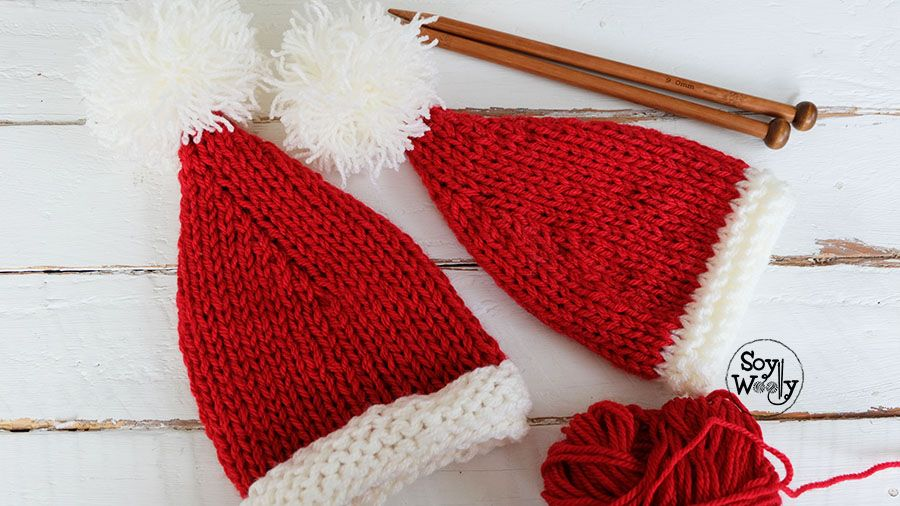 Cómo tejer un gorro de navidad fácil en dos agujas | dos agujas ...