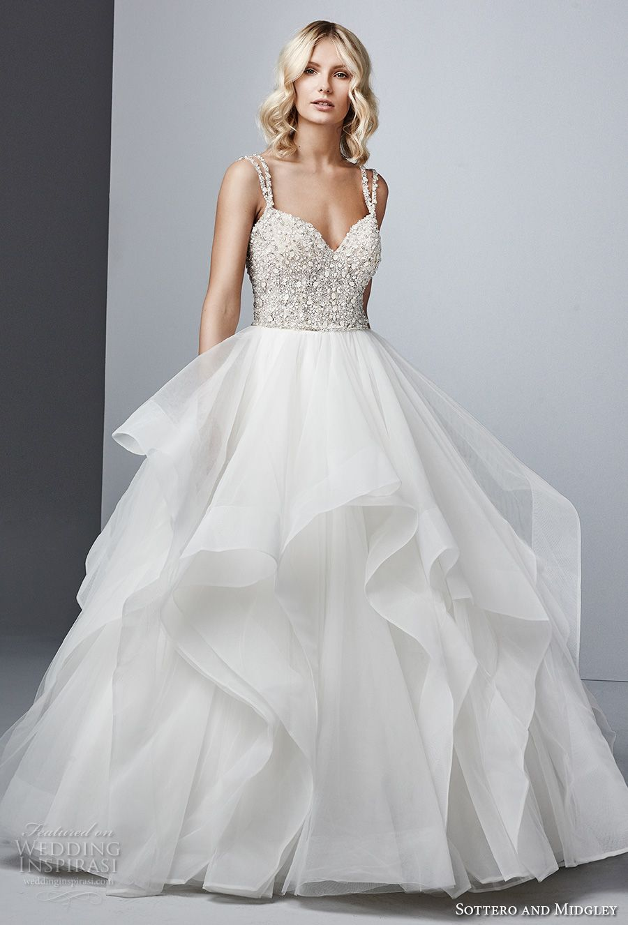 Sottero Midgley Fall 2017 Double Strap Sweetheart Neckline Heavily Embellished Beaded Bodice Layered Skirt Princess Glamorous Ball Gown Wedding Dress Open