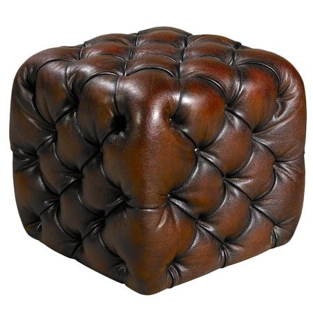 Jester Leather Cube.....great footrest or side table.