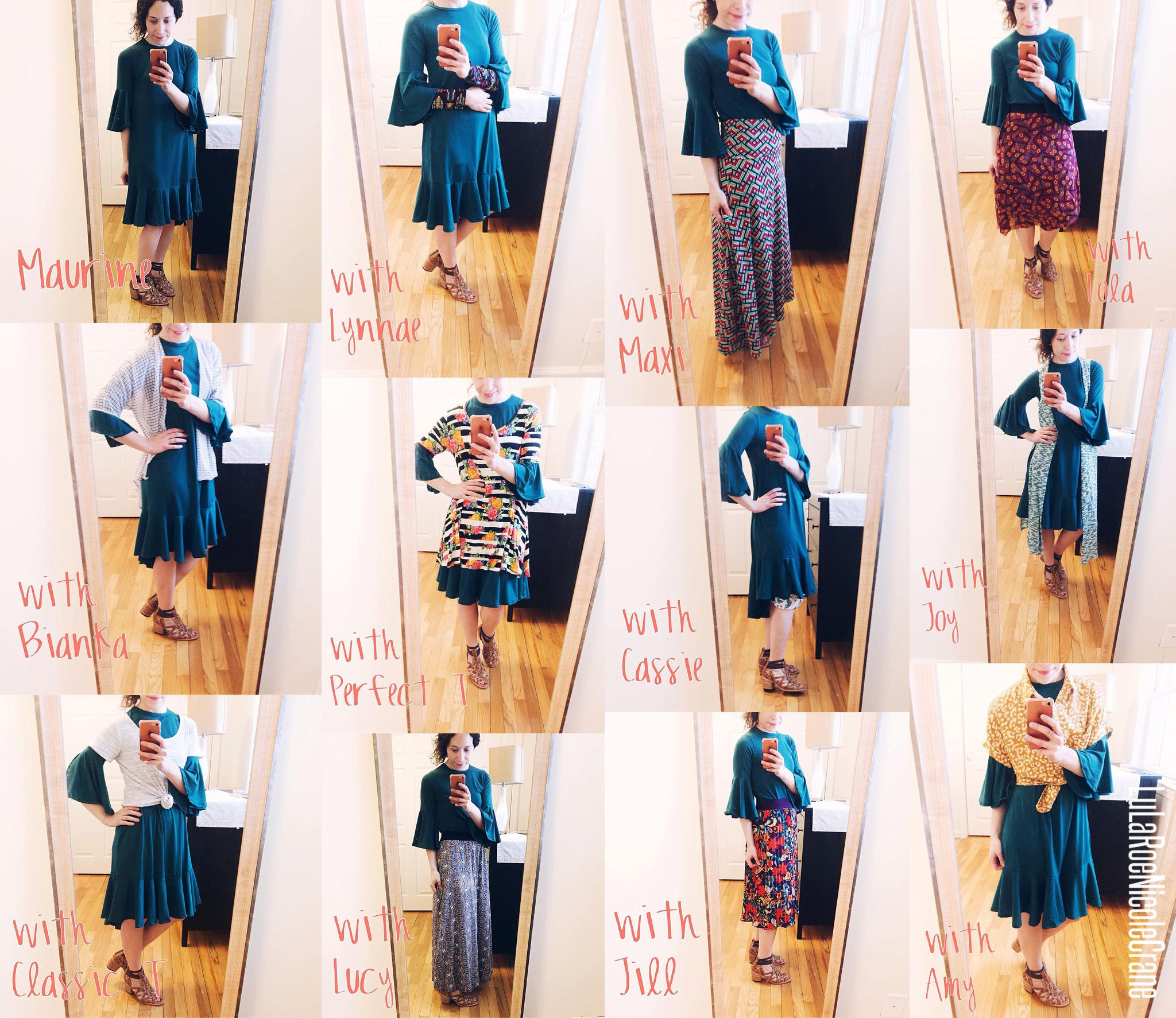 b7e0eff2c4c Look at all the different ways you can wear the LuLaRoe Maurine dress! I  love her so much!  lularoestyling  onlineshopping  fashion  ootd  outfit   style ...