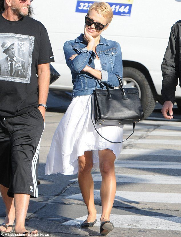 Crop star: Pamela Anderson showed off her new pixie cut while running errands in Los Angeles on Thursday