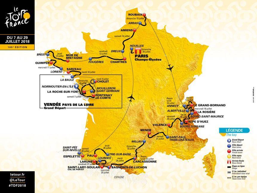 La Carte Officielle Du Tour De France 2018 Tour De France