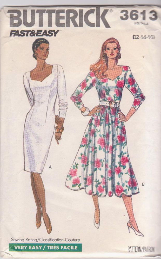 sweetheart neckline 1980s day dress Size UK 16. Vintage