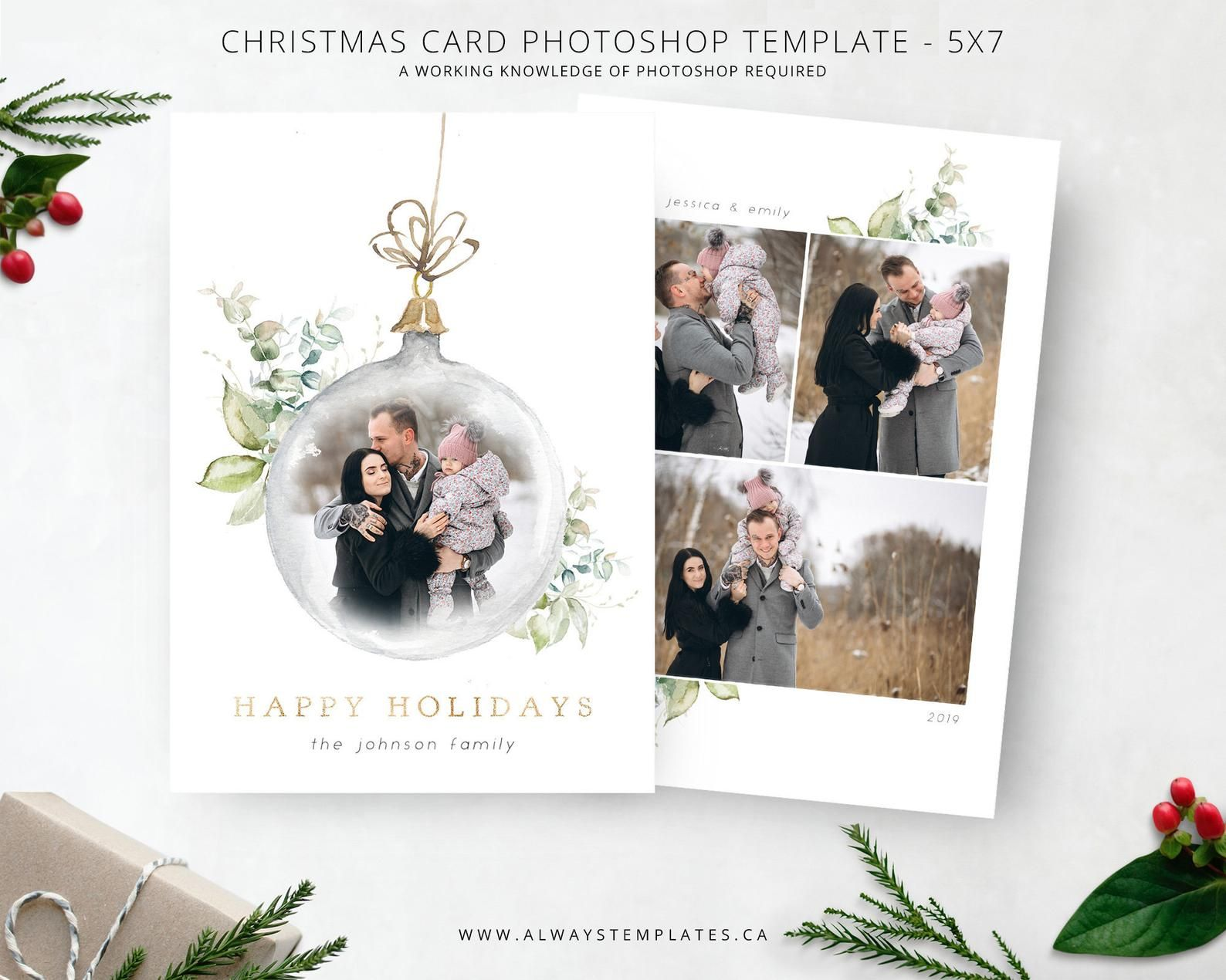 Christmas Card Template Holiday Card Template Photo Etsy In 2021 Holiday Card Template Christmas Card Template Christmas Card Photoshop