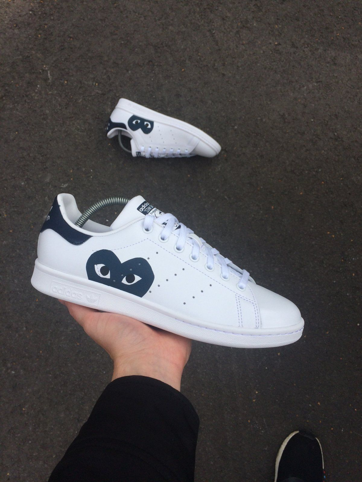 White Adidas Stan Smith with Commes Des Garcons heart logo ...