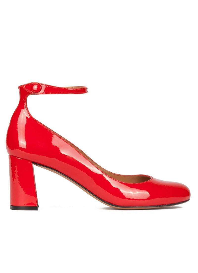 8f2290b3b6bd Pura Lopez Nicki- Buy ankle strap mid block heel shoes in red patent leather.  Official online shop Pura Lopez.
