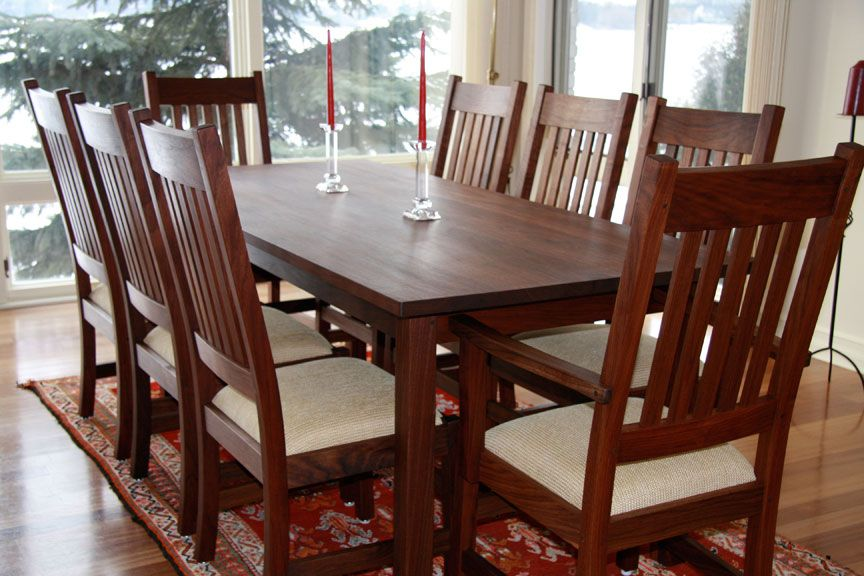 Walnut Mission Dining Table And Handmade Chairs  Furniture Custom Handmade Dining Room Chairs Review