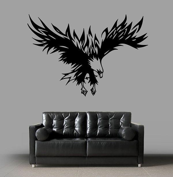 kik1484 Wall Decal Sticker Eagle soaring bird tattoo style bedroom living room