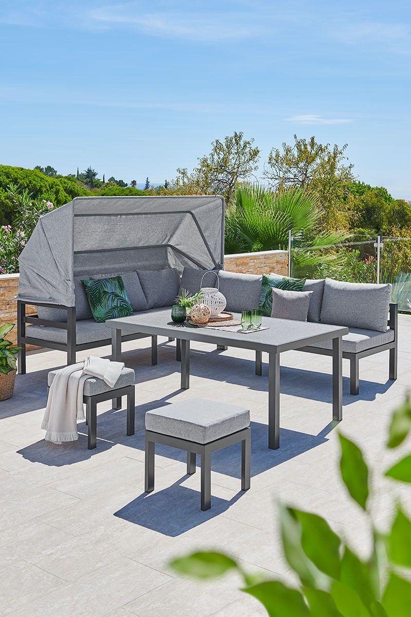 Gartenmobel Garten Sonne Sommer Draussen Mit Dach Metallmobel Essen Esstisch Mobel Aus Metall In 2021 Gartenmobel Loungemobel Garten Mobel