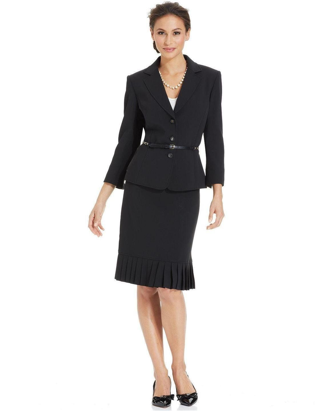fa99642c71a Make a lasting impression in Tahari by ASL s fabulous skirt suit featuring  a sleek chain belt at the waist and feminine pleats at the hem!