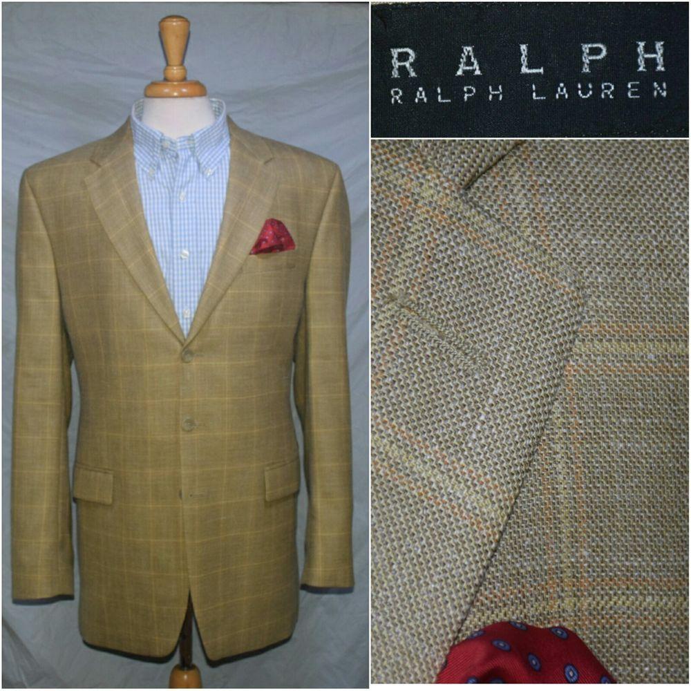 fc2057425fc5 Ralph Lauren Black Label 44XL Wool Silk Linen Blazer Sport Coat Jacket Gold  3Btn