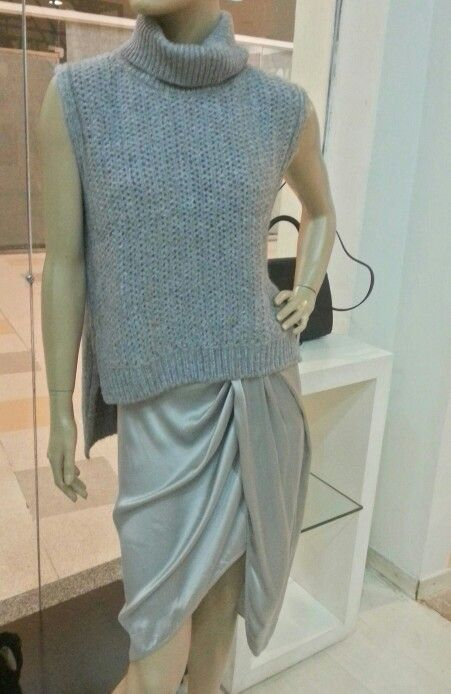 Saia de seda com tricô...estilo e atitude. Adoro.#animalebrasil