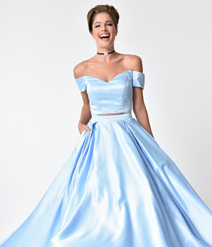 Perry Blue Off The Shoulder Two Piece Satin Prom Gown Unique Vintage Prom Dresses Two Piece Satin Prom Dress Prom Dresses [ 1023 x 879 Pixel ]