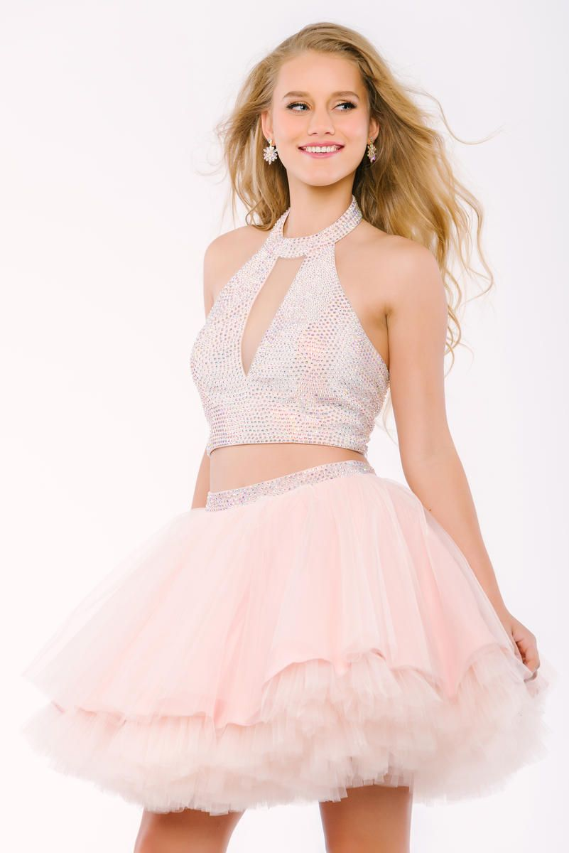Style 42295 from Jovani is a two piece fit and flare party dress with a  keyhole halter crop top and a full short skirt. f5bc357d1