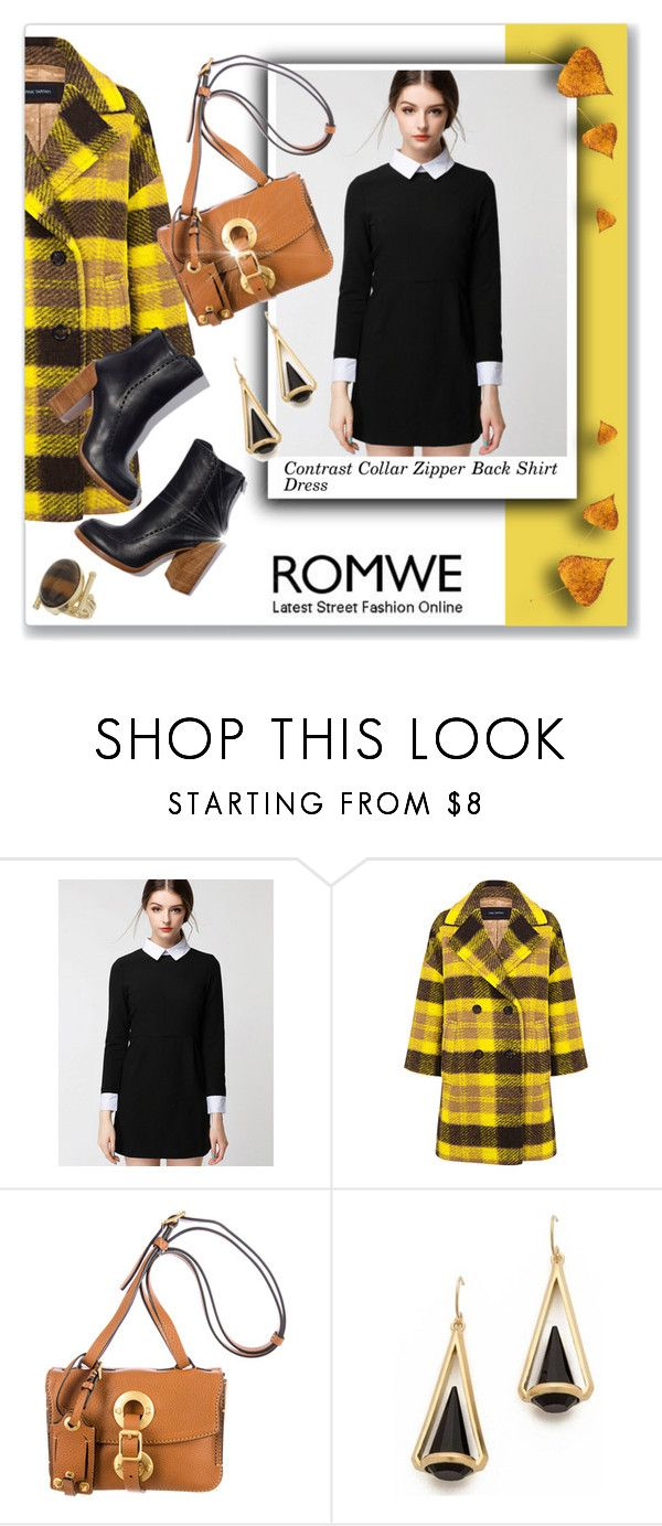 """""""Romwe: Contrast Collar Zipper Back Shirt Dress"""" by dressedbyrose ❤ liked on Polyvore featuring Mode, Pink Tartan, Topshop, StreetStyle, romwe, plaid und CasualChic"""