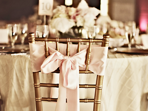 Pretty gold chair with the pink bow.  Elegant chair setting