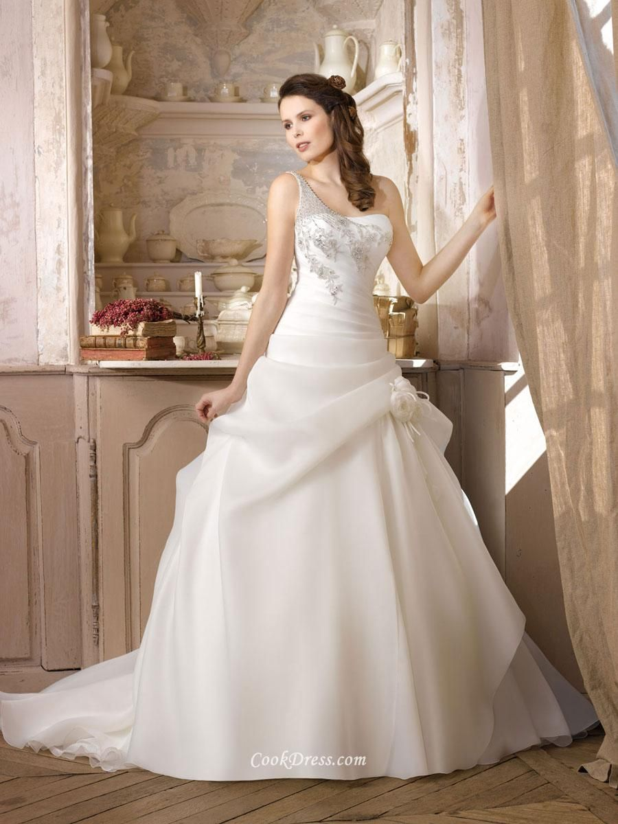 Jeweled One Shoulder Organza Winter Ball Gown Wedding Dress | Dream ...