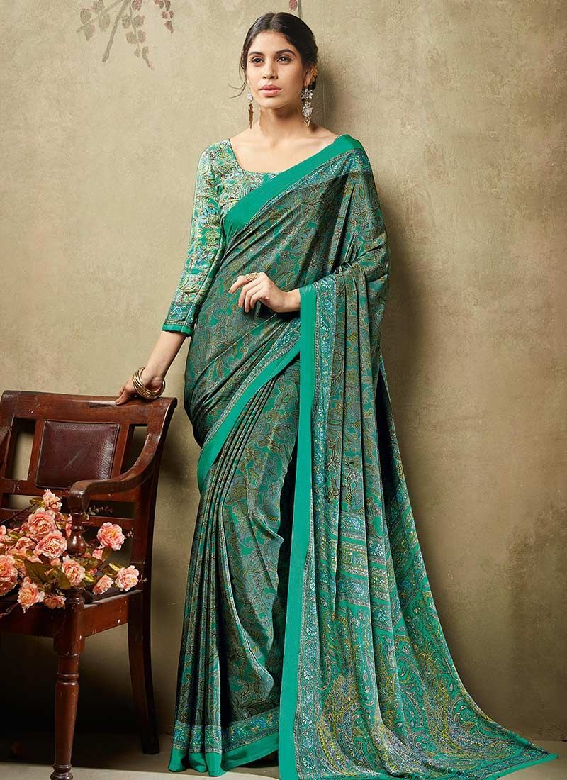 bba52ebffb57b Dark Green Crepe Silk Printed Saree