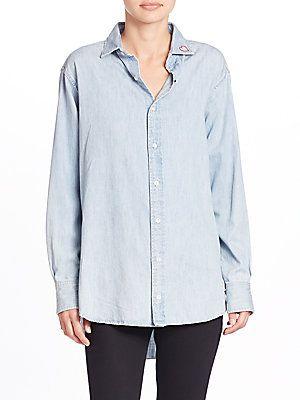 1adc145c3abcca rag   bone JEAN Embroidered Boyfriend Denim Shirt