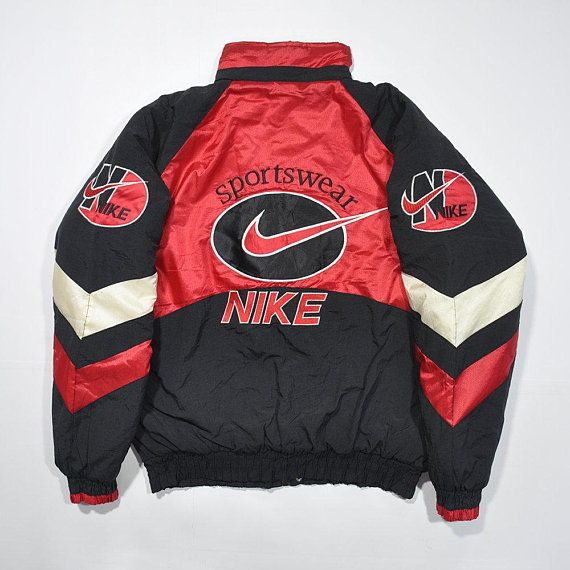 bfca0895e Rare Vintage 80s 90s NIKE Bomber Windbreaker Puffy Puffer Jacket / Retro Swoosh  Big Logo NIKE Winter Coat Streetwear Old school Outwear