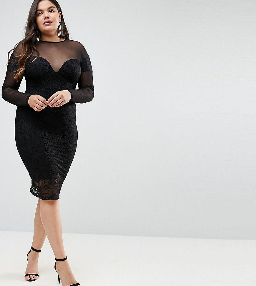 Asos curve long sleeve midi lace bodycon dress with contrast mesh