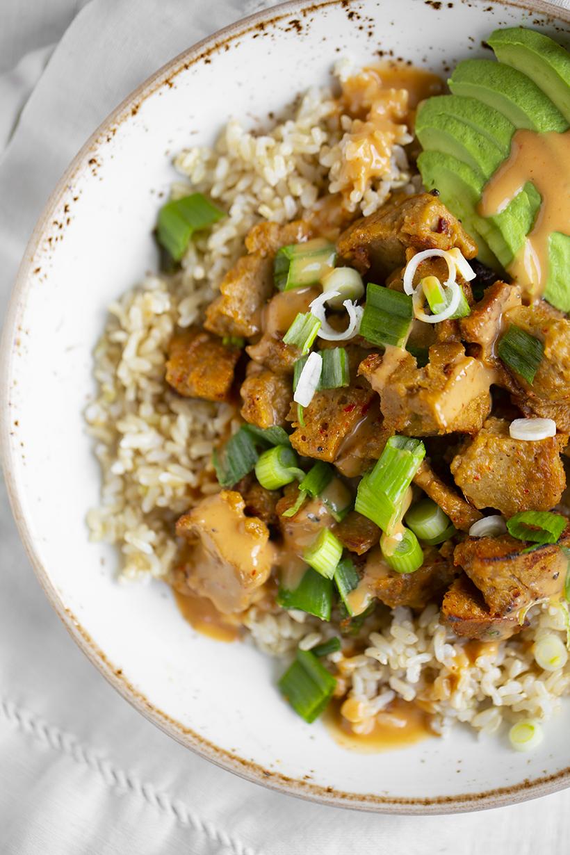 Speedy Peanut Seitan Rice Bowl Vegan Recipe Easy Vegan
