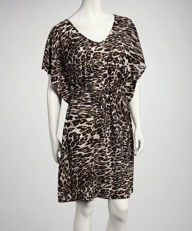 Take a look at this Black & White Leopard Cape-Sleeve Dress by Just Love on #zulily today! $12.99, regular 24.00