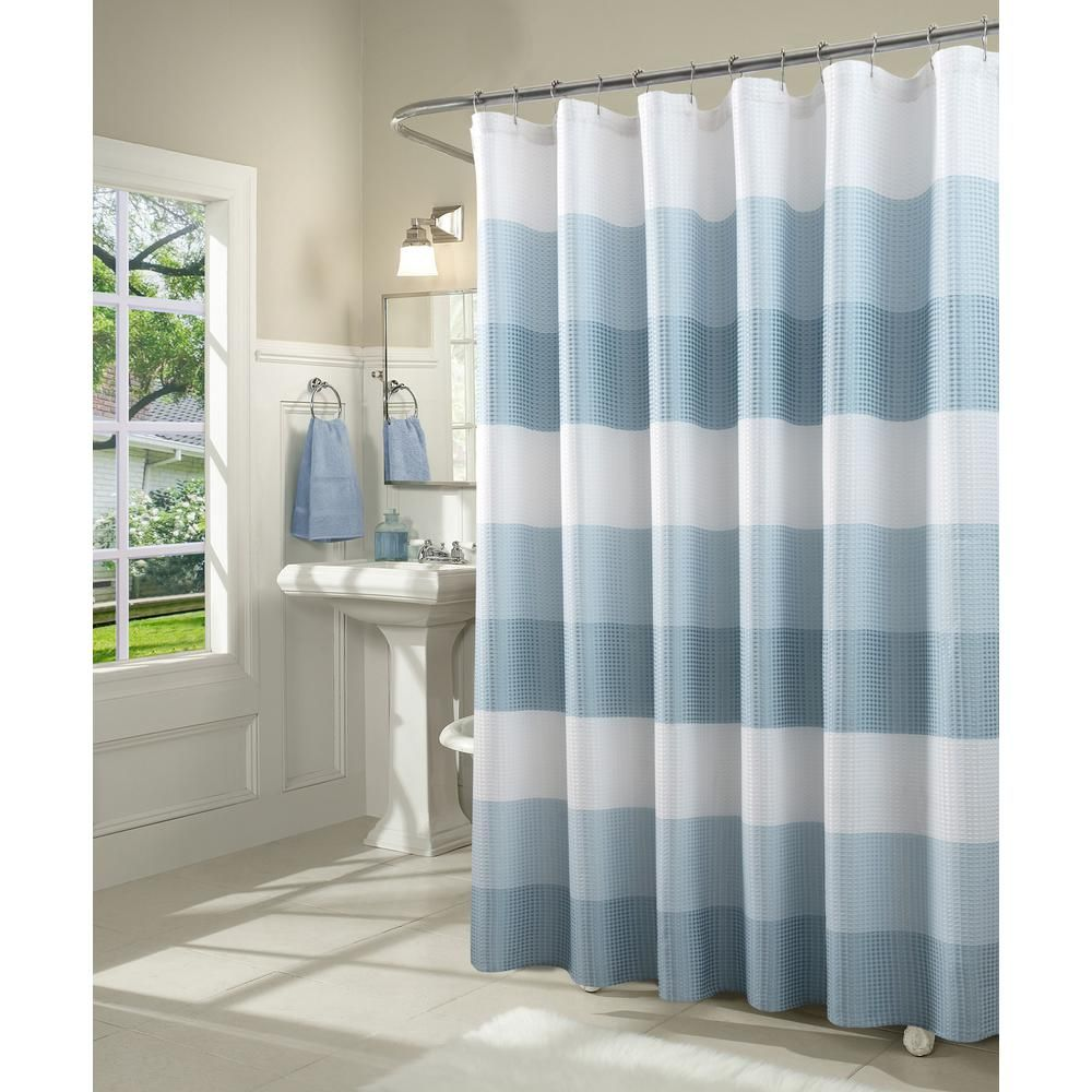 Ombre 72 In Gray Waffle Weave Fabric Shower Curtain In 2019 Products Fabric Shower Curtains Ombre Shower Curtain Curtains