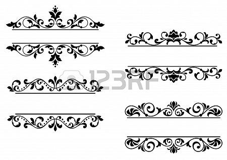 Floral headers and borders in retro style