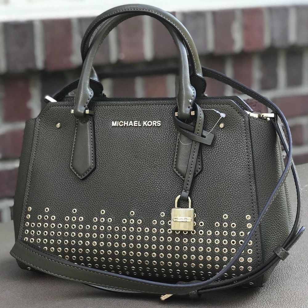 44d952e204a7 fashion Michael Kors Hayes Olive Green Gold Studded Messenger Satchel Bag