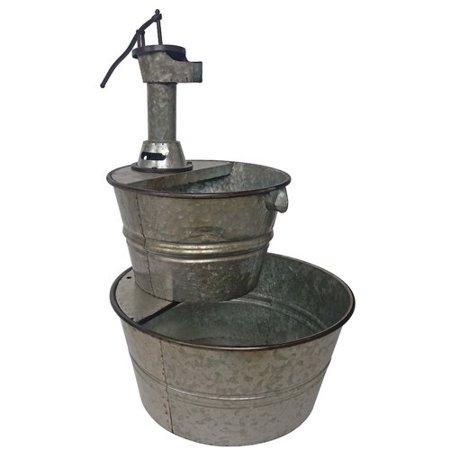 Metal Galvanized Two Tier Metal Barrel Pump Fountain Silver In 2020 Tabletop Fountain Fountain Barrel Fountain
