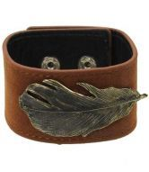 Leaf Leather Cuff Bracelet With Silver Studs Click $12.64