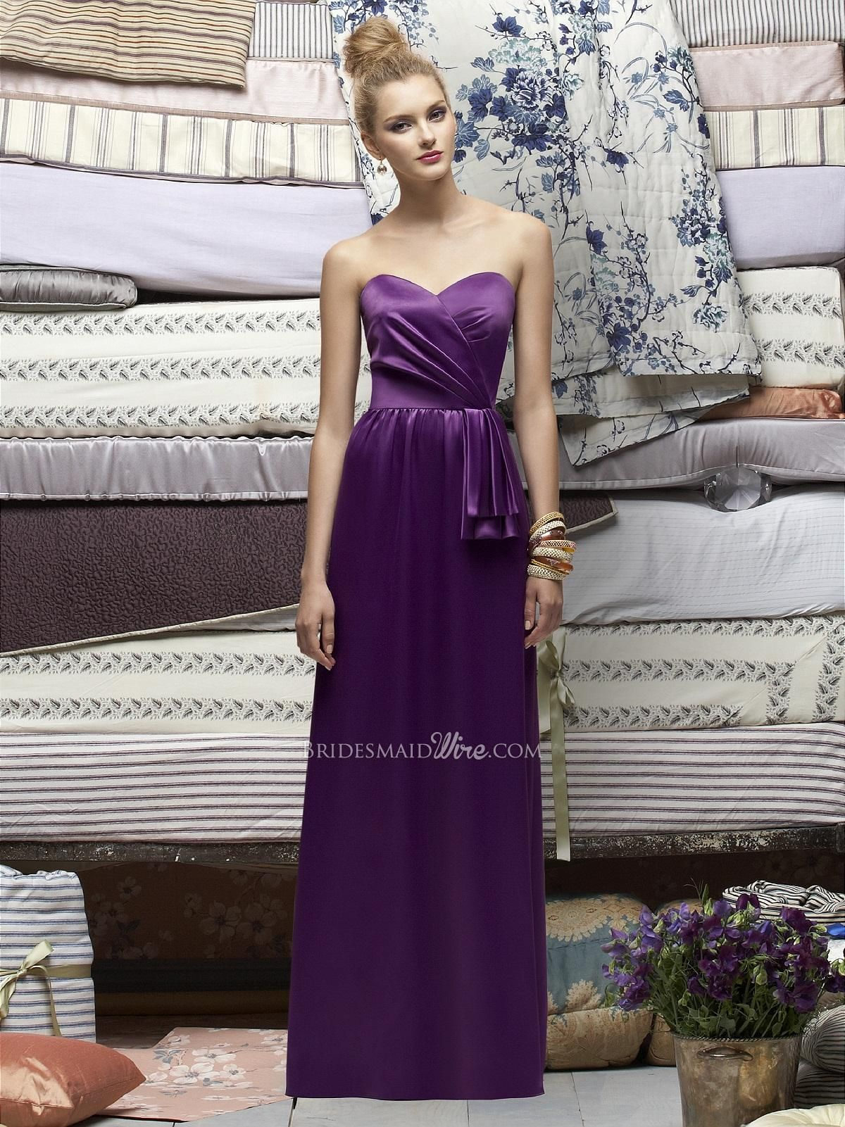 African Violet Strapless Floor Length Renaissance Unusual Bow Bridesmaid Dress